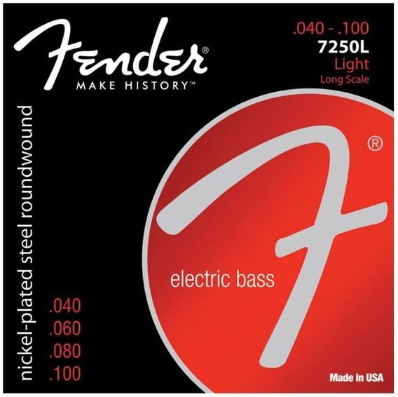 Encordoamento Fender Baixo 4 Cordas 040 7250l Niquelado Aço