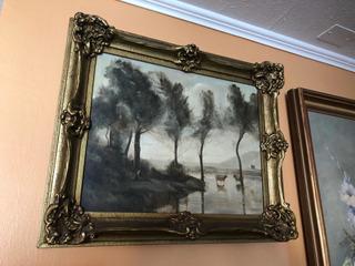 Cuadro Pintura Al Óleo Antiguo Europeo Firmado