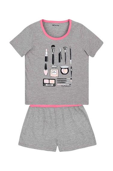 Pijama Feminino Em Malha De Algodão Estampa Frontal Hering