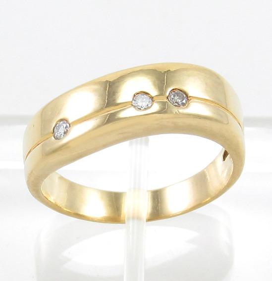 Esfinge Jóias - Anel Design Com Diamantes Aro13,5 Ouro 18k