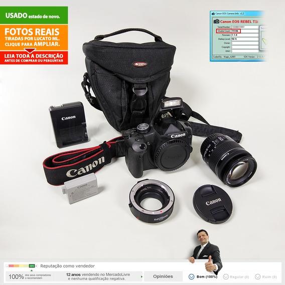 Canon T1i 15m Cliques + Lente Stm 18-55 Is + Tubo Macro +etc