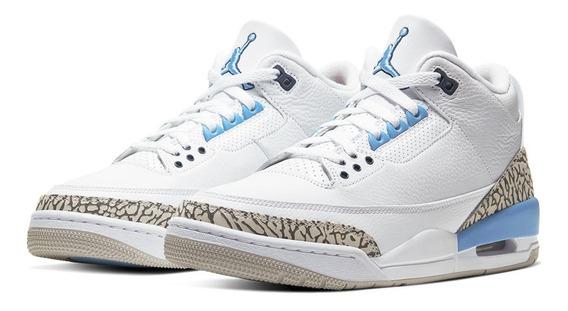 Tenis Nike Air Jordan 3 Unc 2020 Branco Azul Retro