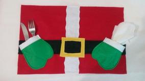 Mantel Individual Navideño 8 Piezas Santa, Duende Y Muñeco