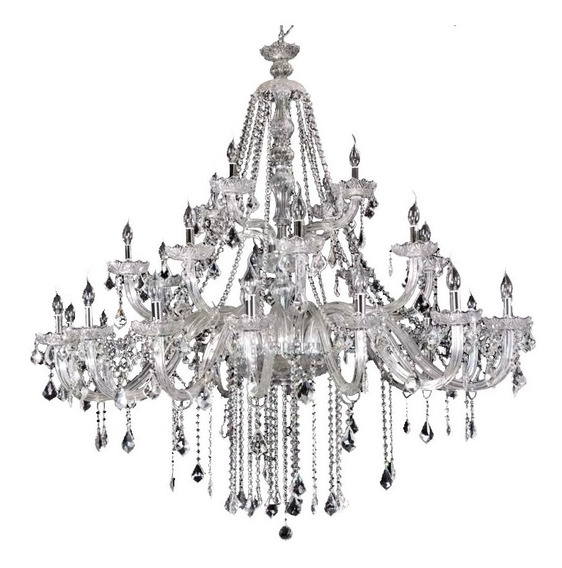 Lustre Em Cristal K9 Maria Thereza Transparente 28 Braços