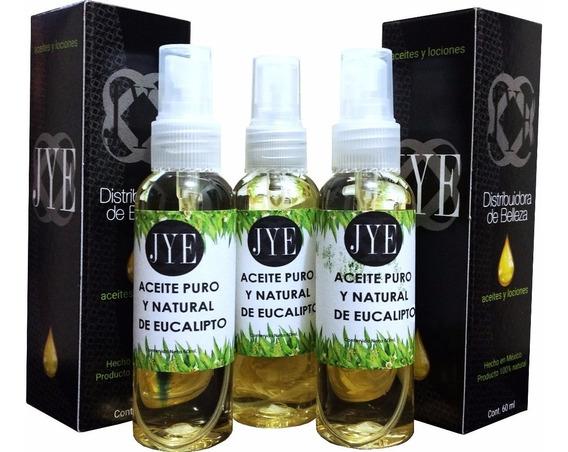 3 Botellas De Aceite Natural Jye Eucalipto Puro 180 Ml