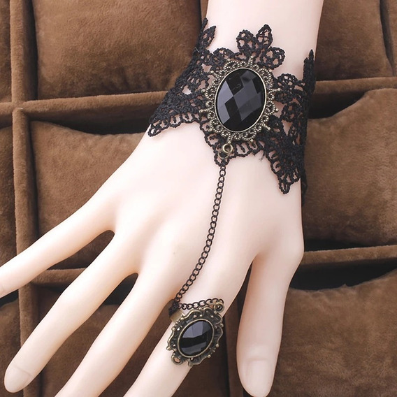 Bracelete Com Anel Regulável Bordado Preto Retrô M1