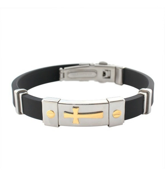 Bracelete Pulseira Cruz Silicone Banhada Ouro 18k