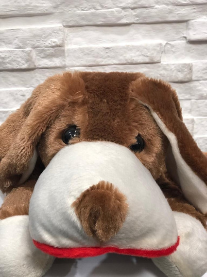 Cachorro Pelúcia Deitado Marrom 35cm