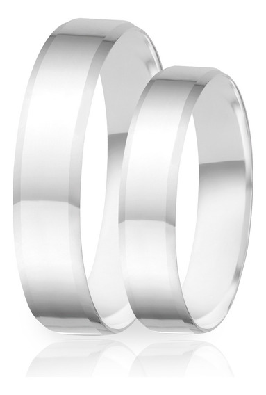 Alianças De Namoro Prata 950 Polida Com Três Cantos 4.8 Mm