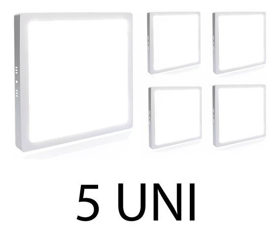 Kit 5 Plafon Painel Led 25w Quadrado Sobrepor Branco Frio