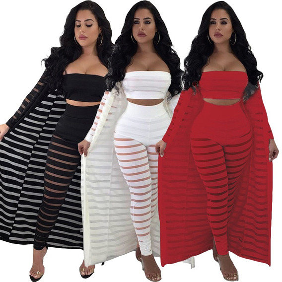 Mulheres Sexy 3 Pe?as Set Oco Out Stripe Malha Strapless Top