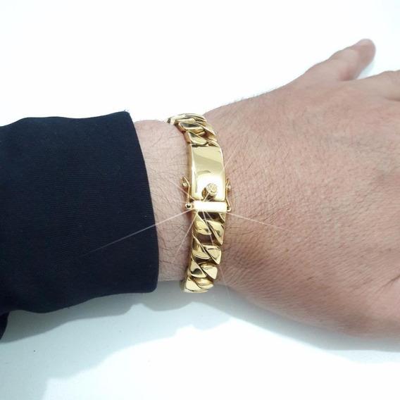Pulseira Masculina Ouro 18k Banhada Em Aço Pesada