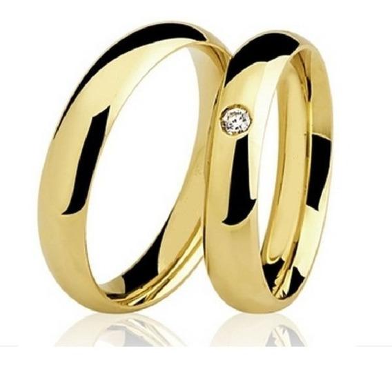 Alianças De Ouro 18k Casamento 3mm Com Zircônia