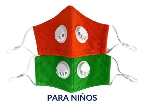 Cubrebocas Lavable Reusable Valvula Filtro N95 Para Niño