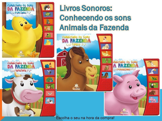 Kit 4 Livros Sonoros Conhecendo Os Sons Da Fazenda