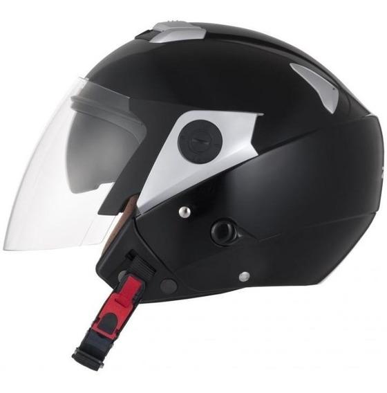 Capacete Moto Aberto Zeus 202fd Solid Black Preto