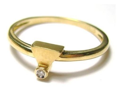 Anel Brunner Com Diamante Natural Ouro 18k