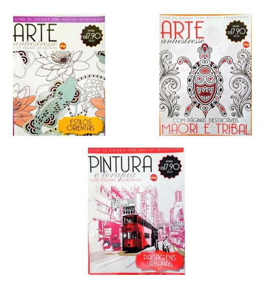 3 Revistas De Colorir Para Adultos,anti Estresse