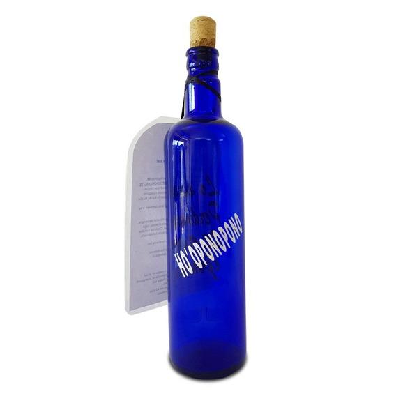 Botella Azul De Vidrio Ho