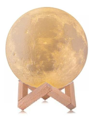 Lua Cheia 3d Led Abajur Luminária 12cm Lampada + Suporte