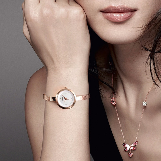 Skmei Simple Thin Diamond Dial Quartz Wristwatch, Women