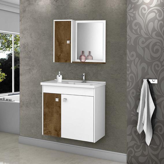 Kit Gabinete Banheiro Móveis Bechara Madeira Rústica/branco