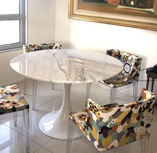 Mesa Saarinen Tulip Mármol Redonda Comedor - Carrara Design
