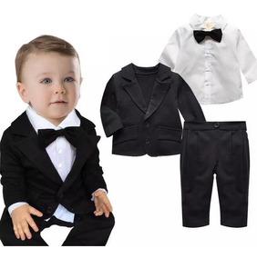 Terno Social Malha Infantil C Gravata Festas Batizado 1 Ao 4