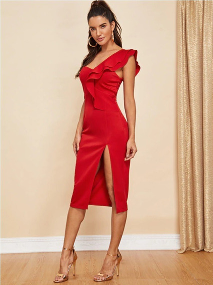 Vestido Shein Ruffle Detail One Shoulder Solid Split Dress