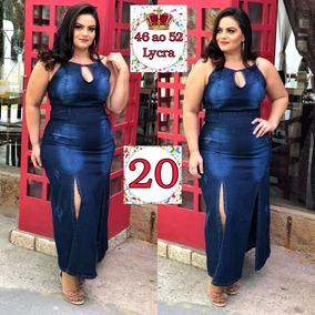 Vestido Jeans Longo Tamanho Grande Plus Size Love Gg Ref. 20