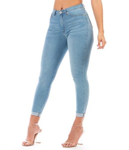 Imagen 1 de 9 de Pantalón Jeans Mezclilla Stretch Dama Azul Claro Dobladillo