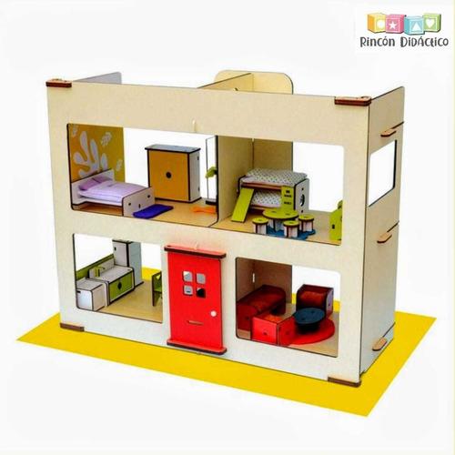 Casa De Juguete De Madera Con Muebles, Accesorios Y Familia