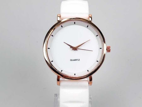 Relógio Quartz Feminino Social Branco Silicone