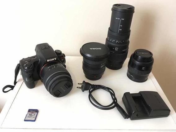 Câmera Dslr Sony Alpha Slt-a37 + 3 Lentes + Bolsa