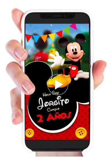 Video Invitación Mickey Mouse Digital Para Enviar Whatsapp