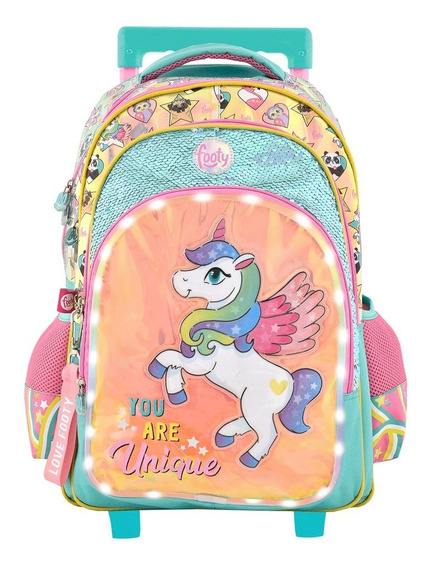 Mochila Carro Unicornio 18p Foo F1301 Luz Led You Are Unique