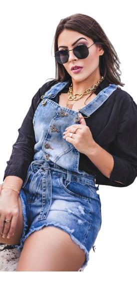 Macacão Jeans Curto Jardineira Yad.jeans Feminina