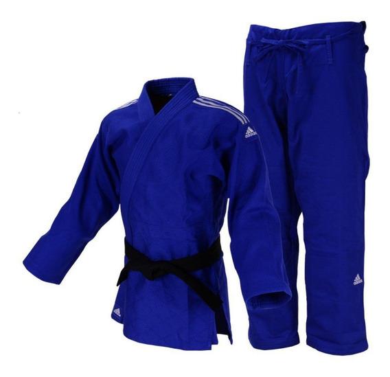Kimono Judô adidas Quest J690 Azul Com Faixas Bordadas Em Br