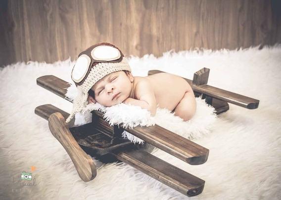 Avião Rústico Em Madeira Envelhecida Prop Newborn Bebê