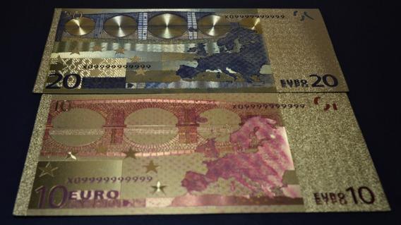 Notas De 10 E 20 Euros Folheadas Ouro 24k (coleção, Cédulas)