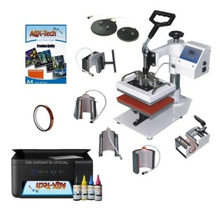 Estampadora Mini Combo 15x20 8en1 + Impresora Multifuncion Con Tintas De Sublimacion + Papel Y Cinta Térmica Aqx