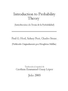 Introducción A La Teoria De La Probabilidad Paul G Hoel...