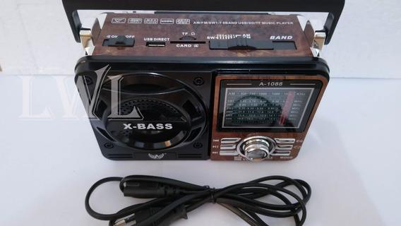 Caixa De Som Portatio Altomex 1088 Radio Usb Am Fm 9bandas