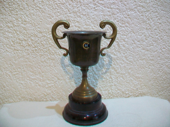 Trofeo De Bronce Y Madera Con Asas - Alto: 20 Cm.