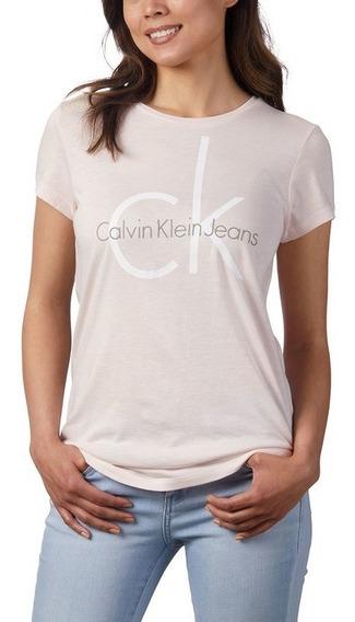 Calvin Klein, Playera Dama, Mujer, Negro Y Rosa Original