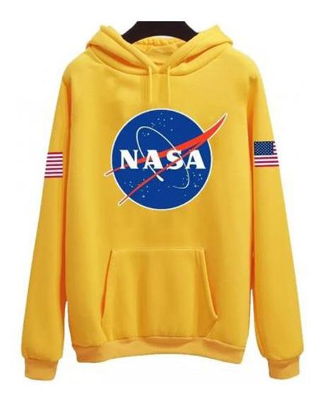 Sudadera Hoodie Nuevo Modelo Nasa Logo Bandera Espacio