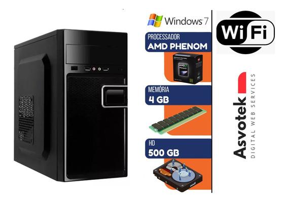 Computador Pc Phenom 3.2ghz 4gb Hd 500gb Windows 7 Com Wi-fi