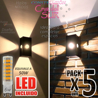 Difusor Aplique Pared Interior Luz Efecto C/led 6w Pack X 5u Iluminacion Multidireccional Decoracion 4 Rayos Living