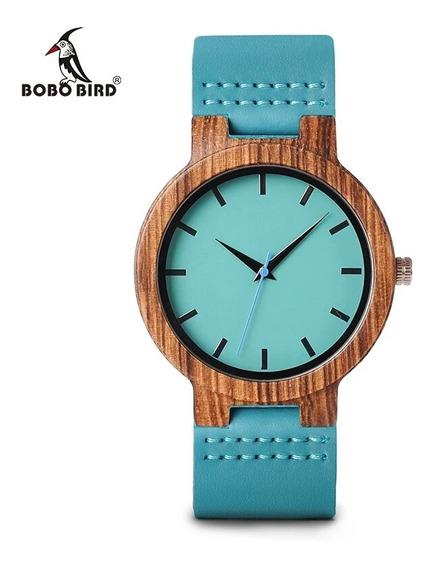 Relógio Masculino Madeira C28 Verde Analógico Bobo Bird