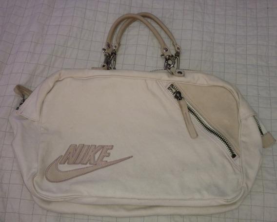 Bolso Nike Original De Lona Cremita.37cm X26cm X14cm.oferta